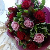 Dozen Pink and Red Roses